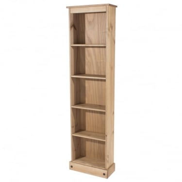 Core Products Corona Antique Wax Pine Tall Narrow Bookcase with Adjustable Shelves (CR946)