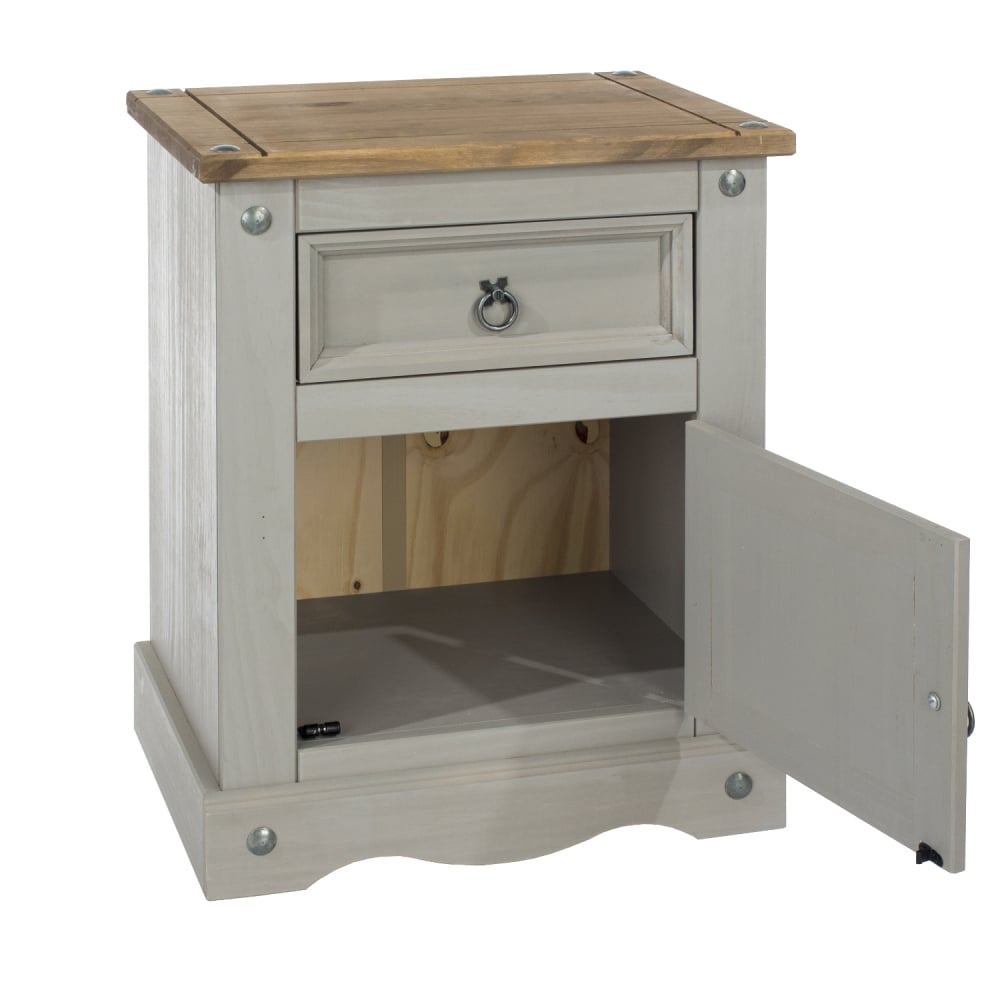 Core Products Corona Grey Washed Effect Pine Bedside