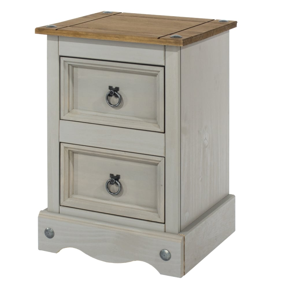 Core Products Corona Grey Washed Effect Pine 2 Drawer