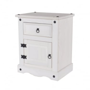 Core Products Corona White Washed 1 Door 1 Drawer Bedside Table