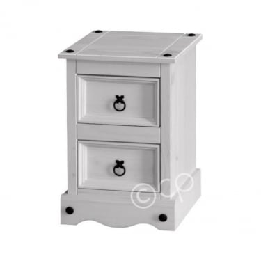 Core Products Corona White Washed 2 Drawer Petite Bedside Table