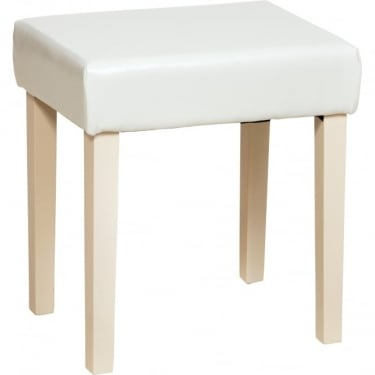 Core Products Jamestown Soft Cream Faux Leather Stool with Rubberwood Legs (ML200CR-CR)