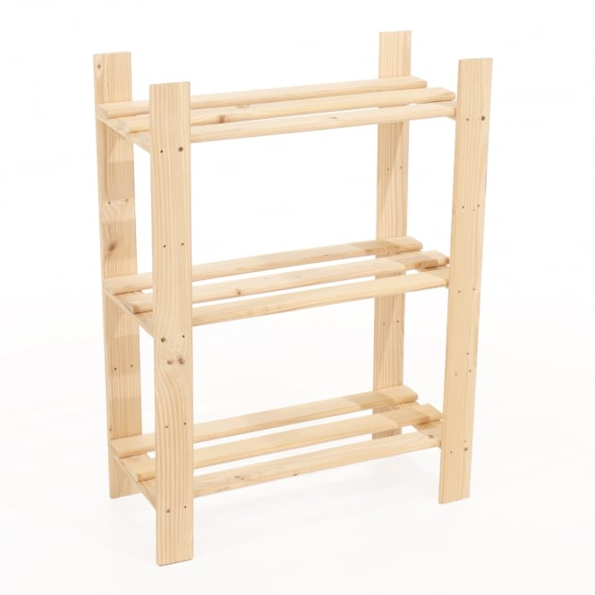 Core Products Natural Wood Slatted 3 Shelf Narrow Storage