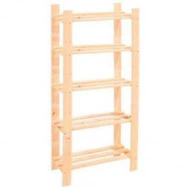 Core Products Natural Wood Slatted 5 Shelf Narrow Storage Unit
