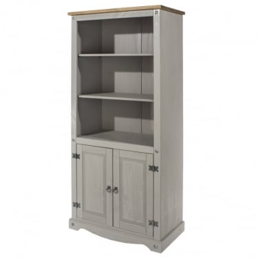 Corona 2 Door Bookcase, Grey & Antique Pine