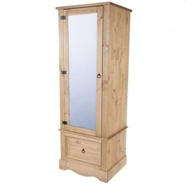 Corona Antique Wax Pine 1 Drawer 1 Door Armoire Wardrobe