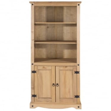 Corona Antique Wax Pine 2 Door Bookcase with Adjustable Shelves
