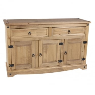 Corona Antique Wax Pine 2 Drawer 2 Door Medium Sideboard with Adjustable Shelf