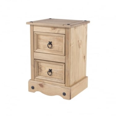 Corona Antique Wax Pine 2 Drawer Bedside Cabinet