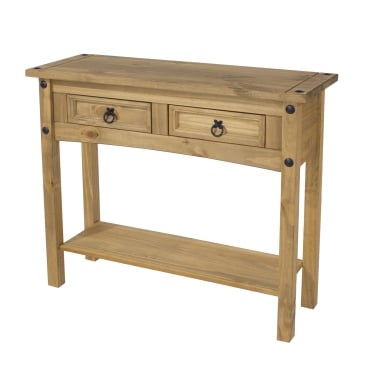 Corona Antique Wax Pine 2 Drawer Hall Table