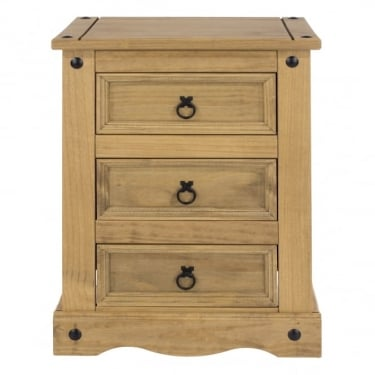 Corona Antique Wax Pine 3 Drawer Bedside Cabinet