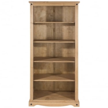 Corona Antique Wax Pine Open Bookcase with Adjustable Shelves
