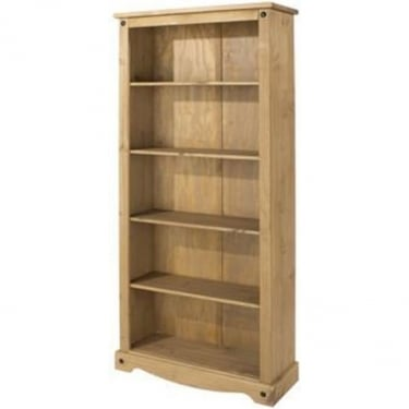 Corona Antique Wax Pine Tall Bookcase with Adjustable Shelves