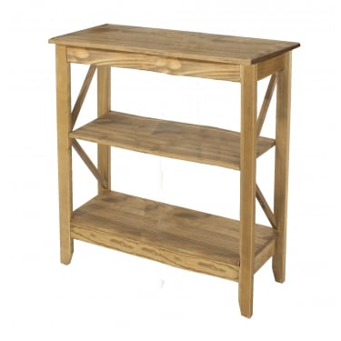 Corona Antique Wax Pine Wide 3 Tier Shelf Unit