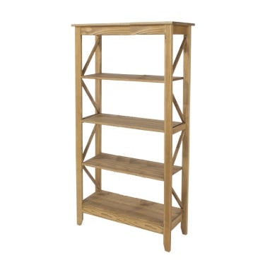 Corona Antique Wax Pine Wide 5 Tier Shelf Unit