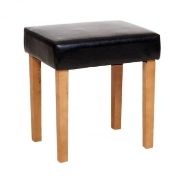 Corona Black Faux Leather Rectangular Stool with Rubberwood Legs