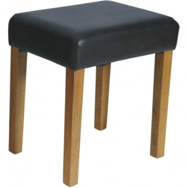 Corona Brown Faux Leather Rectangular Stool with Rubberwood Legs