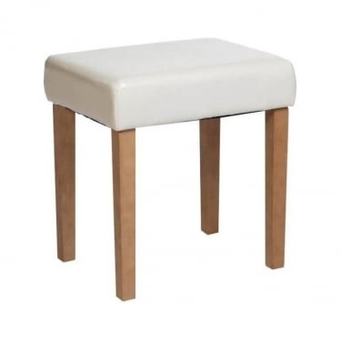 Corona Cream Faux Leather Rectangular Stool with Rubberwood Legs