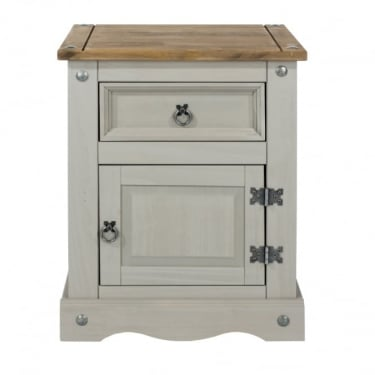Corona Grey Washed Effect Pine 1 Drawer 1 Door Bedside Cabinet