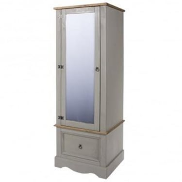 Corona Grey Washed Effect Pine 1 Drawer 1 Door Mirrored Armoire Wardrobe