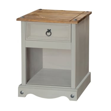 Corona Grey Washed Effect Pine 1 Drawer Bedside Cabinet