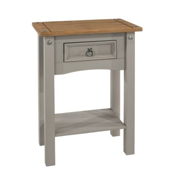 Corona Grey Washed Effect Pine 1 Drawer Hall Table