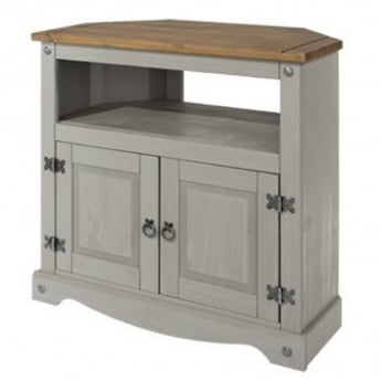 Core Products Corona Grey Washed Effect Pine 2 Door TV Unit
