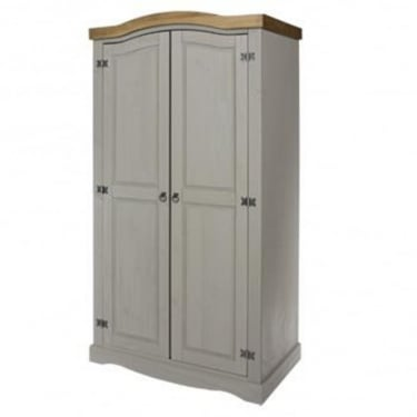 Corona Grey Washed Effect Pine 2 Door Wardrobe