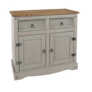 Corona Grey Washed Effect Pine 2 Drawer 2 Door Sideboard