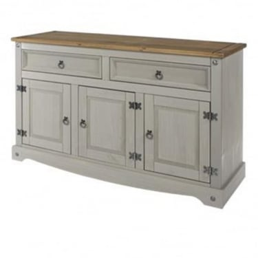 Corona Grey Washed Effect Pine 2 Drawer 3 Door Sideboard with Adjustable Shelf