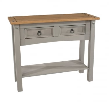 Corona Grey Washed Effect Pine 2 Drawer Hall Table
