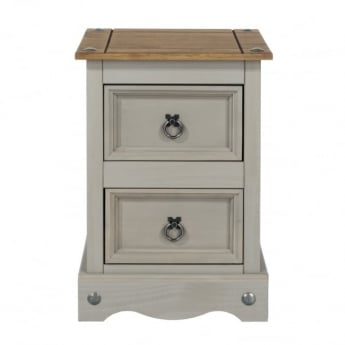 Core Products Corona Grey Washed Effect Pine 2 Drawer Petite Bedside Cabinet