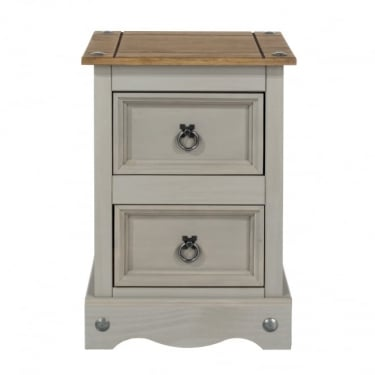 Corona Grey Washed Effect Pine 2 Drawer Petite Bedside Cabinet