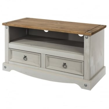 Corona Grey Washed Effect Pine 2 Drawer TV Unit