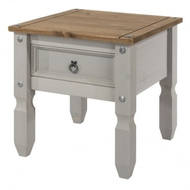 Corona Grey Washed Effect Pine Lamp Table