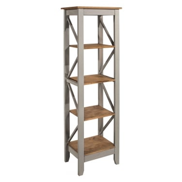 Corona Grey Washed Effect Pine Narrow 5 Tier Shelf Unit