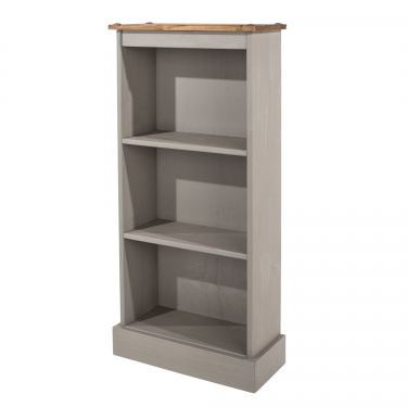 Corona Grey Washed Effect Pine Narrow Bookcase