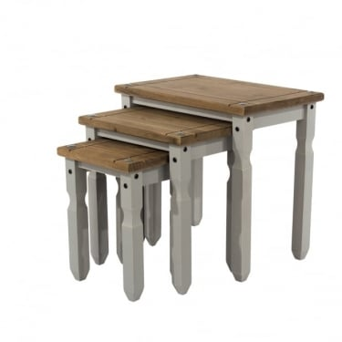 Corona Grey Washed Effect Pine Nest of Tables 3-Pack