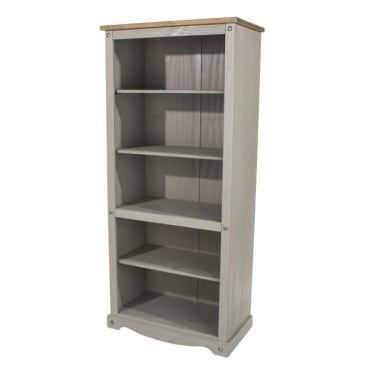 Corona Grey Washed Effect Pine Tall Bookcase with Adjustable Shelves