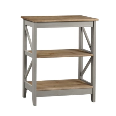Corona Grey Washed Effect Pine Wide 3 Tier Shelf Unit