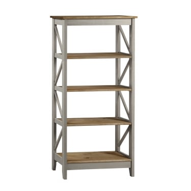 Corona Grey Washed Effect Pine Wide 5 Tier Shelf Unit