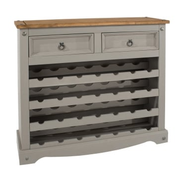 Corona Grey Washed Effect Pine Wine Rack