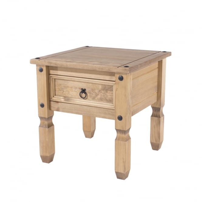 Corona Square 1 Drawer Lamp Table, Pine