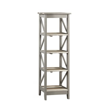 Corona Vintage Grey Wax Pine Narrow 5 Tier Shelf Unit