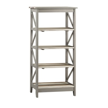 Corona Vintage Grey Wax Pine Wide 5 Tier Shelf Unit