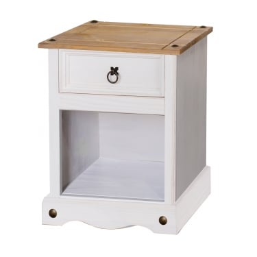 Corona White Washed Wax Effect Pine 1 Drawer Bedside Cabinet