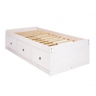 Corona White Washed Wax Effect Pine 3 Drawer 3'0 Cabin Bed