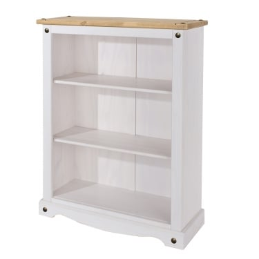 Corona White Washed Wax Effect Pine Low Bookcase with Adjustable Shelves