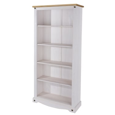 Corona White Washed Wax Effect Pine Tall Bookcase