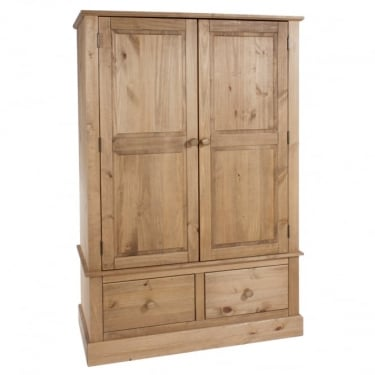 Cotswold Antique Wax Pine 2 Drawer 2 Door Wardrobe